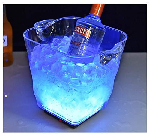 Cubeta de hielo Enfriador de cerveza LED Ice Bucket 5L, Cubo De Enfriador De LED Champán Transparente Barril Aislamiento Refrigerador De Cerveza Recargable Cubo De Grado Alimenticio Cubo De Cerveza De