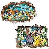 Kibi 2PCS Pegatinas Pokemon Pikachu Wall Sticker Pokemon Go Pegatinas De Pared Stickers Pokemon Pared Adhesivo Pokemon
