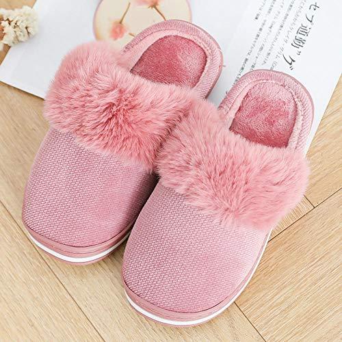 B/H Animados Pareja Zapatos Calzado,Pantofole di Cotone Caldo Inverno, pantofole antiscivolo per la casa;Fondo spesso più Scarpe morbide-Pink_37-38,Zapatillas Interior Casa Caliente