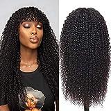 Pelucas rizadas brasileñas con flequillo de 24 pulgadas, pelucas de cabello humano 100% virgen,...