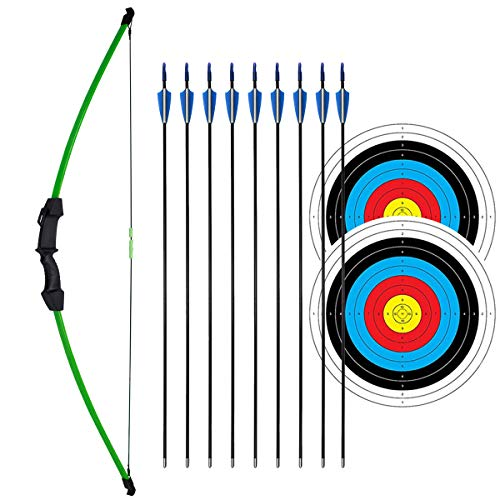 """iMay 45"""" Recurve Bow and Arrows Set Outdoor Archery Beginner Gift Longbow Kit with 9 Arrows 2 Target Face Paper 18 Lb for Teens (Green)"""