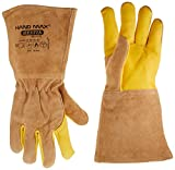 HAND MAX HESTIA Versatile multi purpose 36cm Cow GAUNTLET Leather Kevlar Heat resistant Gloves for handling Animals such as DOG CAT BIRD REPTILE,Welding,Outdoor Camping Brazier,Camping fire