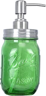 DASAWAN Classic Farmhouse Mason Jar Soap Dispenser 16 Ounce Regular Mouth Mason Jar with Lotion Dispenser Pump Lid Made from Rust Proof Stainless Steel for Bathroom Kitchen Decor (Green)