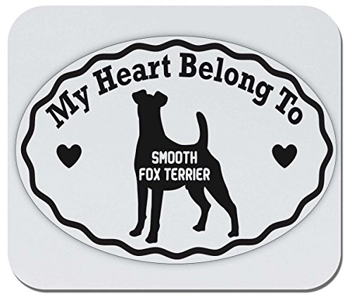 Makoroni - My Heart Belongs to Smooth Fox Terrier - Non-Slip Rubber Gaming Office Mousepad, t90