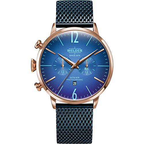 Welder Breezy Herren-Armbanduhr 45mm Armband Edelstahl + Gehäuse Quarz WWRC418