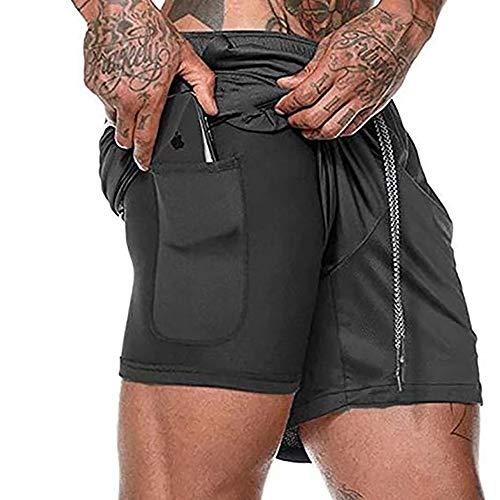 Hombres 2 en 1 Entrenamiento Running Fit Shorts Ropa transpirable de doble capa Yoga Gym Sport Shorts con bolsillos deportes al aire libre ropa deportiva de secado rápido