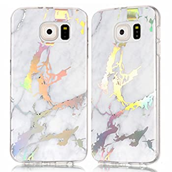 DAMONDY for Galaxy S6 Case,Samsung S6 Case,3D Shiny Marble Glitter Ultra Thin Slim Back Skin Full Body Protective Soft TPU Rubber Bumper Case Phone Cover for Samsung Galaxy S6 G920-white