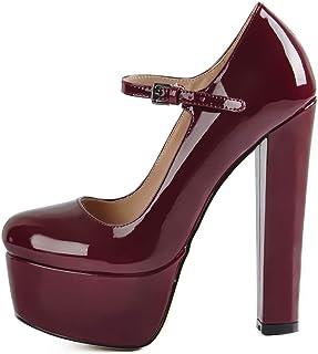 Women's Chunky High Heels Platform Mary Jane Pumps (Color : Wine, Size : 3 UK)