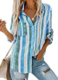 Astylish Women Striped Button Down Long Roll up Sleeves Work Shirt Blouse Tops Large Sky Blue