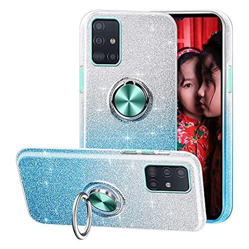 Compatible con el Estuche Samsung Galaxy A51,Funda de teléfono Brillante 3 en 1,Anillo Giratorio de 360 ° para Soportes magnéticos para automóvil,adecuadoSamsung Galaxy A51-Azul
