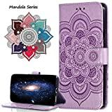 MRSTER Funda para Xiaomi Redmi Note 8 Pro, Estampado Mandala Libro de Cuero Billetera Carcasa, PU Leather Flip Folio Case Compatible con Xiaomi Redmi Note 8 Pro. LD Mandala Purple