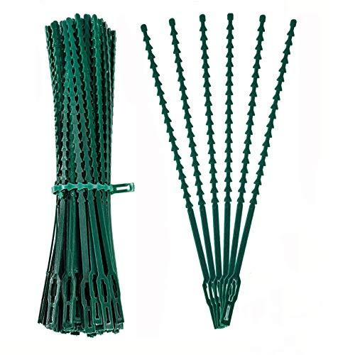 WISMURHI [50 Stück] 17CM Pflanzenbinder Einstellbar, Grüne Pflanzen Anbinder Kunststoff Schnellbinder für Pflanzen Unterstützung, Wiederverwendbar