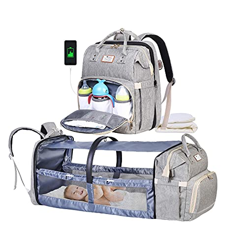Diaper Bag Backpack MaikcQ Baby Diaper Bag with Changing Station,Travel Bassinet Crib Foldable Baby Bed Large Capacity Waterproof USB Charging Port Grey