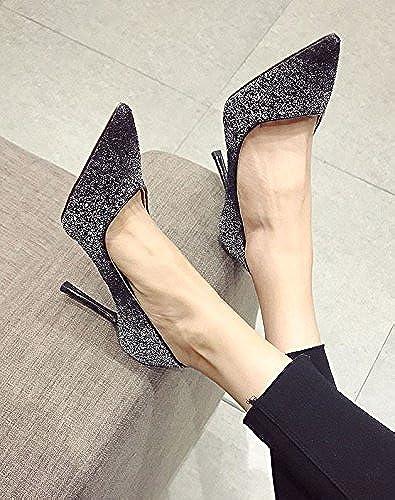 Ajunr Fine Pointe de lumière unique suivi port chaussures femmes chaussures Retro Noir étudiants 8cm élégant chaussures de talon haut Sandales,Femmes,Loisirs,été Mode