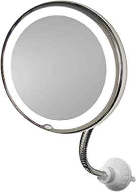 "MY FLEXIBLE MIRROR 10x Magnification 7"" Make Up Round Vanity Mirror for Home, Bathroom use with super strong suction cups As"