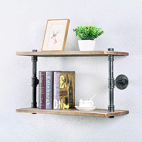 Industrial Pipe Shelf Wall Mounted,Steampunk Real Wood Book Shelves,2 Tier Rustic Metal Floating Shelves,Wall Shelving Unit Bookshelf Hanging Wall Shelves,Farmhouse Kitchen Bar Shelving(24in)