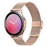 TRUMiRR Compatible avec Samsung Galaxy Watch Active2/Active Bande de Montre, 20mm Bracelet Montre en Acier Inoxydable tissé pour Samsung Galaxy Watch Active/Galaxy Watch Active2/Gear S2 Classic