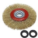 Cepillo limpiador circular metálico Ototec con cerdas de alambre de acero para esmeriladora de banco. 125/150/200 cm, 125 mm