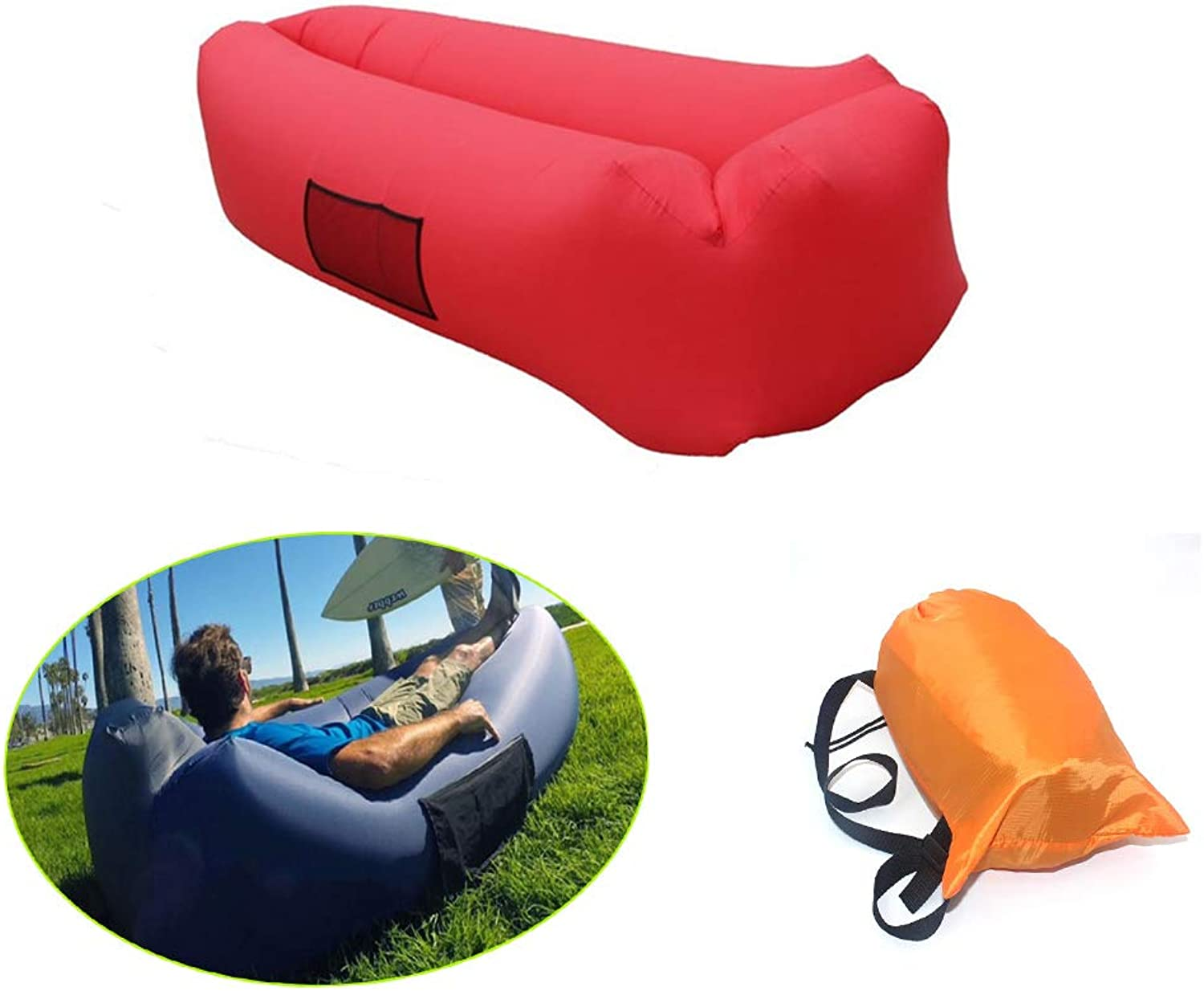 Uhmhome Inflatable Couch Lounger Air Chair Sofa Bed Sleeping Couch Lazy Hangout Sofa Bag Hammock-Portable for Beach Camping Lake Garden