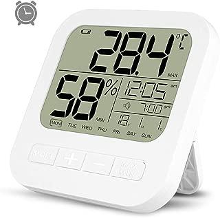 Vige HTC-1 Indoor LCD Elektronische Digitale Temperatur-Feuchtemessger/ät Raumthermometer Hygrometer Wecker Wetterstation-Schwarz