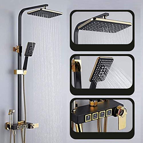 Sistema de ducha Mezclador termostático de baño Válvula de ducha con cabezal de ducha de lluvia rectangular de 200 × 300 Mm, pistola rociadora, grifo de ducha y sistema de ducha manual, C, termostá