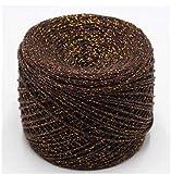 BARO Hilo metálico de 200G para Tejer y Hacer Crochet Matethreads Hilos de Bricolaje Crochet Metallic + Hilo Metalizado de algodón, café Dorado