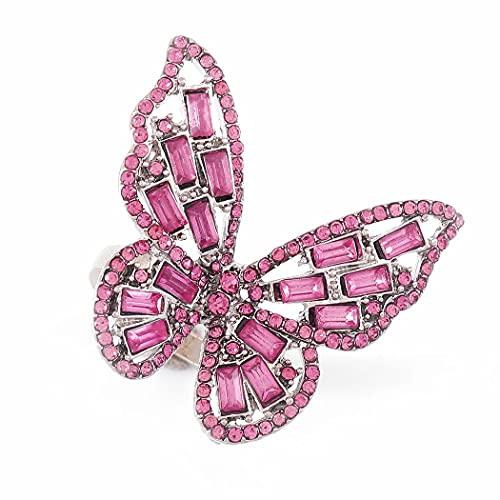Ushiny - Juego de anillos de tobillo vintage con forma de mariposa con cristales dorados y...
