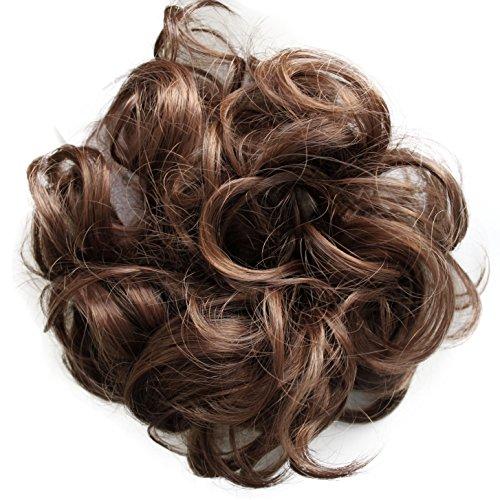 PRETTYSHOP Haarteil Haargummi Hochsteckfrisuren Brautfrisuren Voluminös Gelockt Unordentlich Dutt Braun Mix G26AL