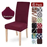 SearchI Dining Room Chair Covers Slipcovers Set of 6, Spandex Fabric Fit Stretch Removable Washable Short...