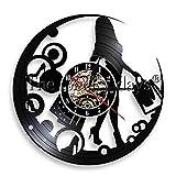 LIMN Relojes de Pared decoración del hogar 1 Pieza Shopaholic Lady Reloj de Pared Chica Mujer Joven Señora Bolsas de Compras Reloj de Disco de Vinilo Moda Luz de Pared LED Decoración de la habitación