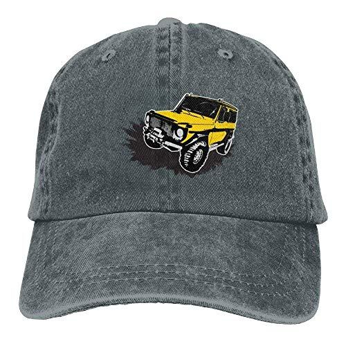 Hoswee Unisex Kappe/Baseballkappe, Painted Yellow Jeep Car Denim Hat Adjustable Women's Low Baseball Hats