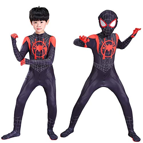 Disfraces Negro Boy Cosplay Into The Body Miles Morales Zentai Ropa Niños Adultos Superhéroe de Halloween (Size : M, Source : Kids)