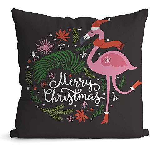 N\A Ilustración navideña con Flamenco, Fundas de Cojines de Almohada Decorativa, Funda de Almohada Decorativa Cuadrada