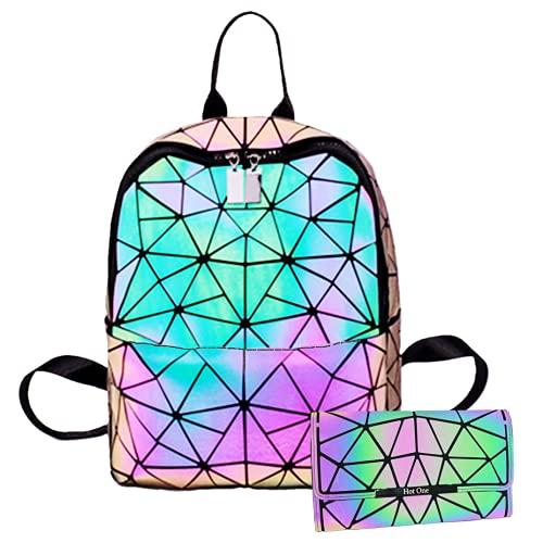 Hot One Handtasche Damen Geometrische Reflektierende Umhängetasche Geldbeutel Damen Taschen Set Rucksack (Nr.3+Knopf Brieftasche)