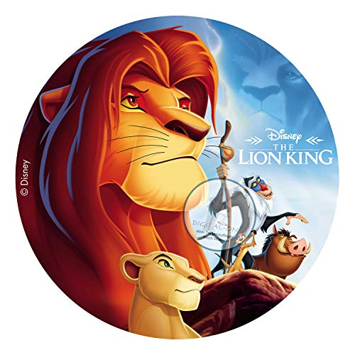 Für den Geburtstag ein Zuckerbild, Oblate mit dem Motiv: König der Löwen, Essbares Foto für Torten, Tortenbild, Tortenaufleger Ø 20 cm 00007-E (Oblatenpapier)
