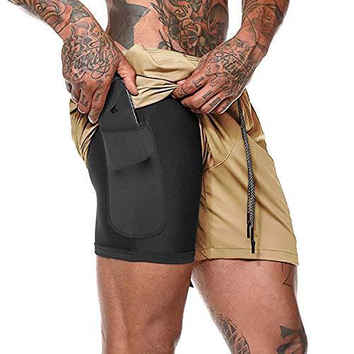 NEWISTAR Pantaloncini Sportivi da Uomo 2 in 1 Pantaloncini da Palestra Pantaloncini da Running Asciugatura Rapida Fitness Pantaloni Corti