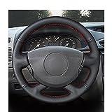 NUICHWA Cubierta de Volante de Cuero PU Negra Cosida a Mano, para Nissan Primastar , para Renault Laguna Trafic Vel Satis Espace Grand