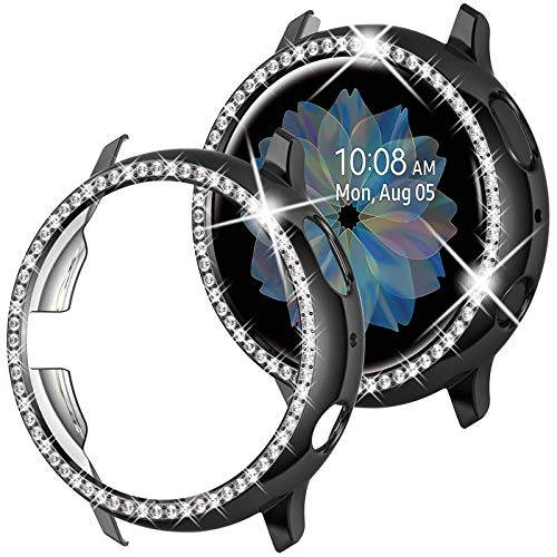 wlooo Glitter Diamante Funda para Samsung Galaxy Watch Active 2 44mm, Bling Cristal Shiny Niñas Mujeres Carcasa Duro PC Protectora Anti-Arañazos Case Cover para Galaxy Watch Active2 44mm (Negro)