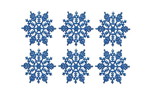 Sea Star 3inch Blue Plastic Snowflake Ornaments 24pcs Tiny Sparkling Iridescent Glitter Snowflake Ornaments on String Hanger for Decorating,Chirstmass Tree,Crafting and Embellishing (3inch, Blue)
