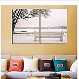 Quadro su Tela Paesaggio Invernale Panchina Snowy Stampa HD Non incorniciato Stampa su Tela Quadro Stampe su Tela 2 Pannelli Poster per Soggiorno 50x70 cm Senza Cornice