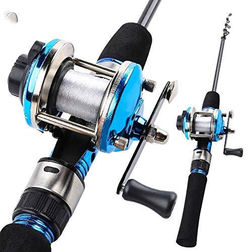 FISHYY Caña De Pescar 1.2 M Azul Telescópica Caña De Pescar De Hielo De Carbono con Carrete De Carrete Combo Portátil De Pesca De Hielo Carrete Poste Conjuntos Aborda