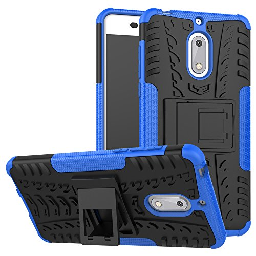 Nokia 6 Case, KimBoo Dual Layer Shock-Absorption Armor Cover Full-Body Protective Case with Kickstand Combo PC+TPU Back for Nokia 6 (Blue)