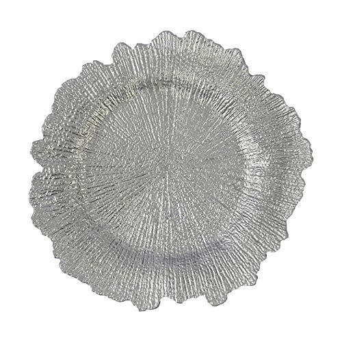 MEISHENG Placas de plástico Plateadas para el Cargador de arrecifes - 12 Piezas Placas Redondas con Cargador de Esponja Floral de 13 Pulgadas Decoración de Banquete de Boda (Plata, 12)