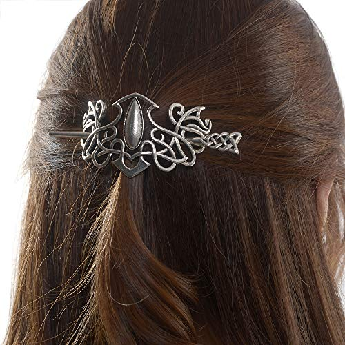 Viking Celtic Hair Sticks Hairpin-Viking Hair Clip Men Antique Silver Hair Sticks Hairpin Triangle Clips for Long Hair Stick Slide Irish Hair Accessories Celtic Knot Hair Pin Viking Jewelry Women