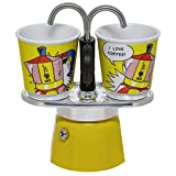Bialetti Mini Express Lichtenstein, Coffee Maker 2-Cup + 2 shot glasses, Aluminum