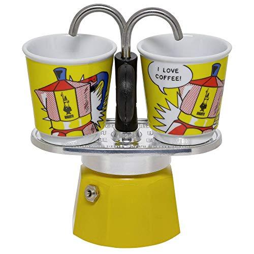 Bialetti Mini Express Farbe Gelb, Kaffeemaschine + 2 Becher