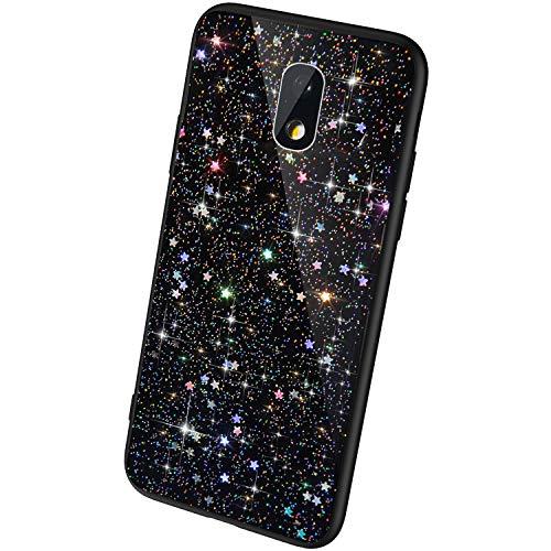 QPOLLY Coque Brillante Compatible avec Samsung Galaxy J3 2017, Paillettes Bling Glitter Coque Ultra Mince Transparent Silicone TPU Souple Gel Bumper Crystal Clear Antichoc Housse Étui,Noir*
