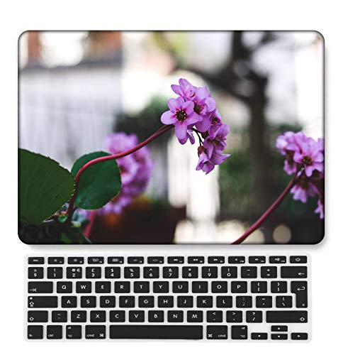 GangdaoCase Plastic Ultra Slim Light Hard Shell Case Cut Out Design Compatible New MacBook Pro 15 inch with Touch Bar/Touch ID with UK Keyboard Cover A1707/A1990 (Flower A 0493)