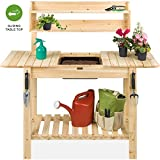 Best Choice Products Outdoor Wood Garden Potting Bench Workstation Table w/Sliding Tabletop, Food Grade Dry Sink, Storage Shelves - Natural