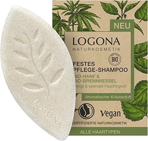 Festes Pflege Shampoo von LOGONA Naturkosmetik Bio-Hanf & Bio-Brennnessel, Feuchtigkeit Shampoo Bar für natürlich gesundes Haar, Wie Haarseife, Vegan, 60 ml